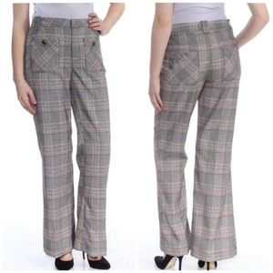 Free People | High Rise Flare leg Plaid trousers